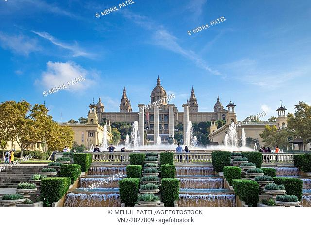 The Magic Fountain of Montjuic and the Palau Nacional which houses the Museu Nacional d'Art de Catalunya (MNAC), Barcelona - Catalonia, Spain