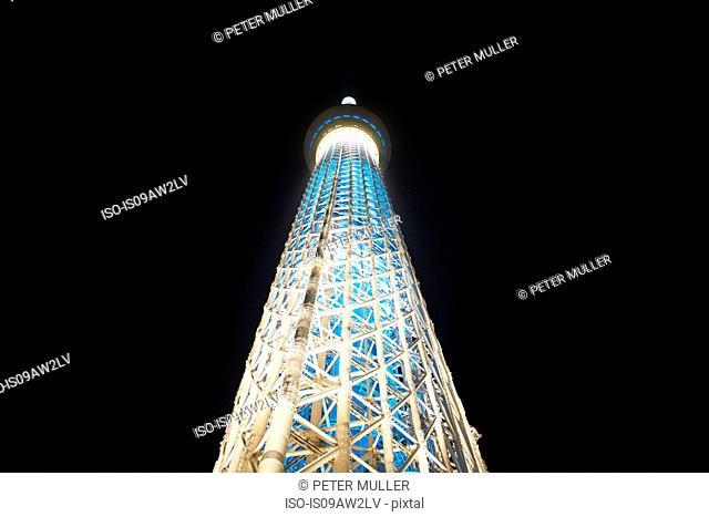 Low angle view of Tokyo Skytree at night, Tokyo, Japan