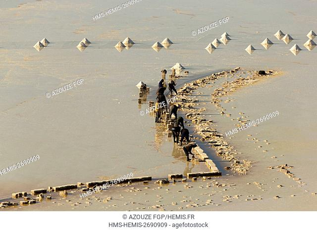 Bolivia, Daniel Campos Province, Potosi, Salar de Uyuni, Colchani, salt harvest (aerial view)