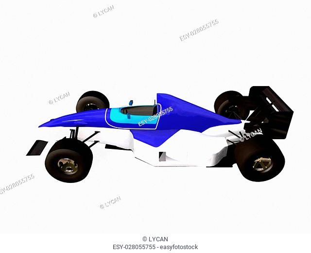 3d F1 blue racing car vol 1