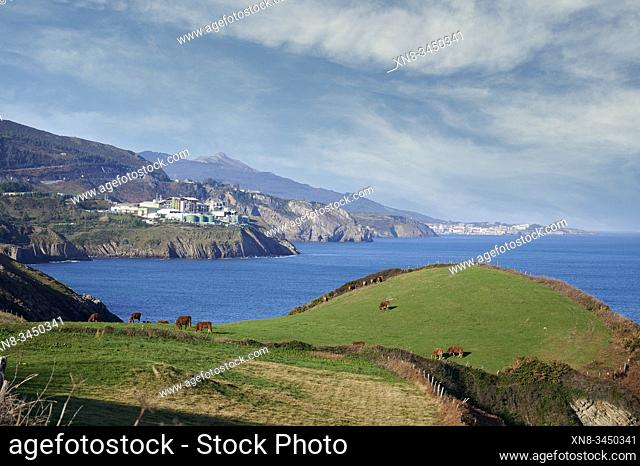 Derivados del Fluor factory, Fluorine Chemical Industry and Old Mineral Load in the Cliff, Ontón, Castro Urdiales, Cantabria, Spain