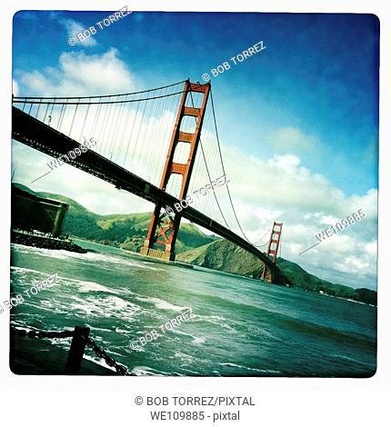 Old polaroid style images of San Francisco Golden Gate Bridge, California, USA