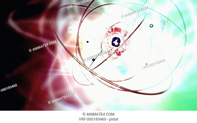 Looping theme of quantum physics, atoms, molecule structure, sub molecule, electrons, protons, neutrons, and chemistry