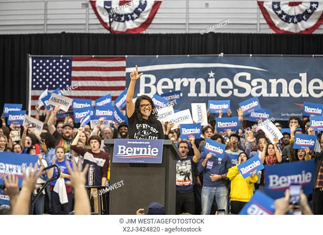 Detroit, Michigan USA - 27 October 2019 - A Bernie Sanders rally at Cass Technical High School during his 2020 campaign for President. Rep