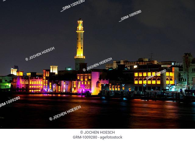 Grand Mosque in Bur Dubai at night, Dubai, UAE