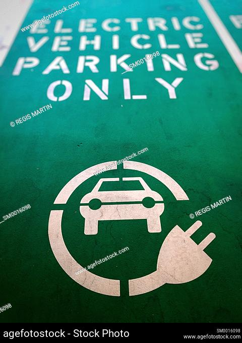 Electric vehicle parking only sign painted on the ground of a parking spot