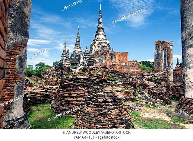 Three stupa Wat Phra Si Sanphet Ayutthaya Thailand