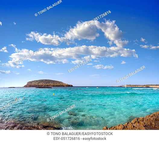 Ibiza Cala Comte Conta beach in Sant Josep of Balearic Islands