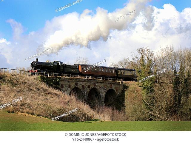 GWR Heavy Freight 2857 crosses Borle Viaduct near Highley, Severn Valley Railway, Shropshire, England, Europe