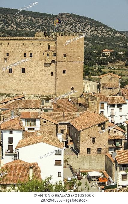 View of the town and castle. Mora de Rubielos.Camino del Cid. Aragón. Spain