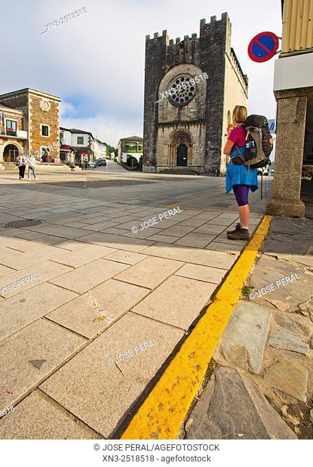 Church of San Juan or St. Nicholas, pilgrim, Portomarin, Camino de Santiago (Way of Saint James), French Way, Lugo province, Galicia, Spain