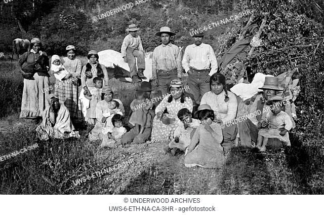 Klamath River, California: c. 1890.A portrait of a group of Hupa Native Americans in Northern California