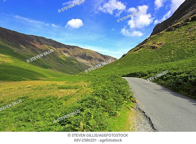 Southern end of Honister Pass near Buttermere, Cumbria, Lake District National Park, England, UK