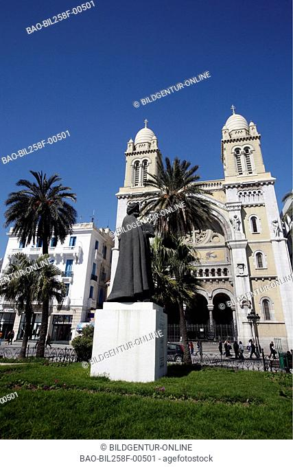 The Place de la Independance in the Old Town of the capital of Tunis in the Norder of Tunisia in North Africa at the Mediterranean Sea