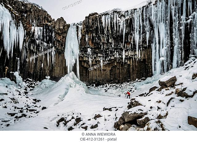 Icicle formations hanging over craggy cliff, Iceland