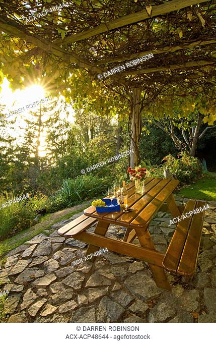 Romantic patio picnic awaits guests at Suncatcher Bed & Breakfast, south of Powell River on British Columbia's Sunshine Coast in the Vancouver