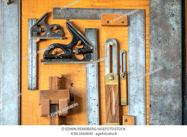 Measuring tools along the inside of the cabinet door, wittman, maryland,