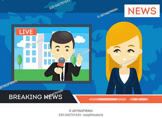 News on TV. Anchor woman with man journalist