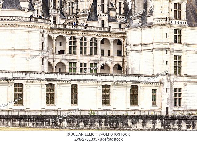 Detail shot of the chateau of Chambord in the Loire Valley, France