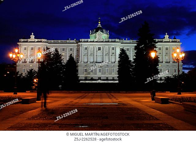 Northern façade of the Palacio Real (Royal Palace) of Madrid from the Sabatini Gardens, named for the Italian architect from 18th century which built the former...