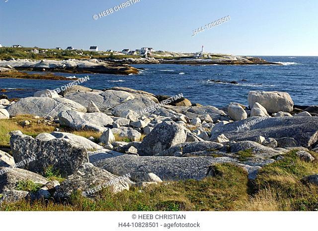 lighthouse, coast, sea, scenery, landscape, rock, cliff, settlement, houses, homes, Peggys Cove, Nova Scotia, maritime