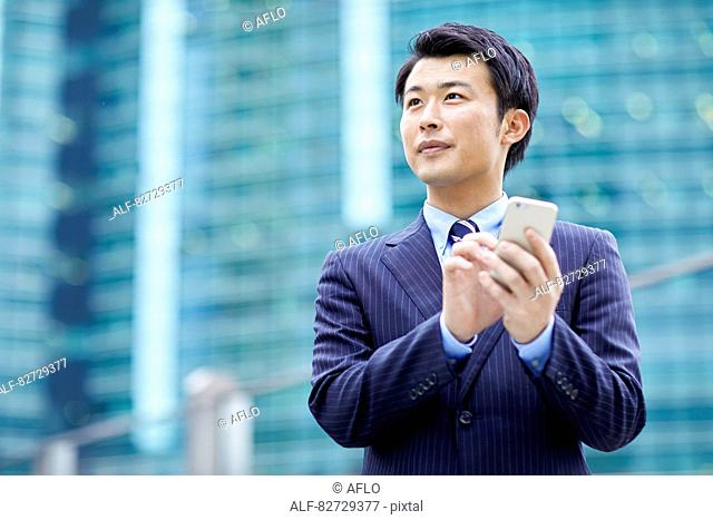 Japanese businessman downtown Tokyo