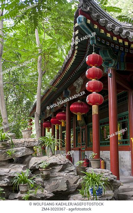A pavilion with red lanterns at the Bai Jia Da Yuan Restaurant in Beijing, China