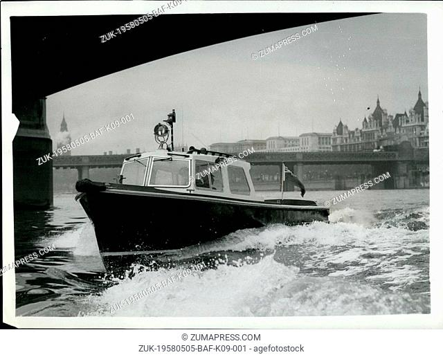 May 05, 1958 - New Fibre Glass Police Launch.: A new fibre glass Police launch was handed over for duty today at the Waterloo Police Pier