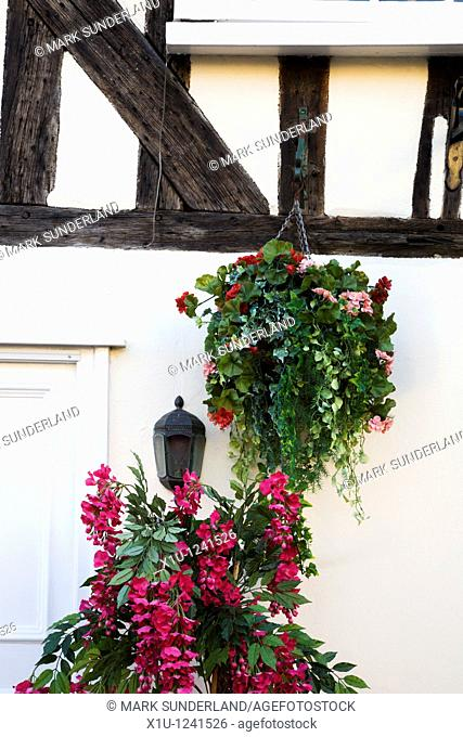 Flower Display on a Half Timbered Building Lavenham Suffolk England