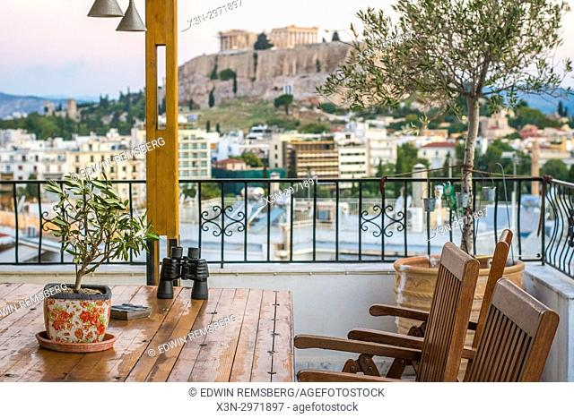 Athens Greece - view of the Parthenon from a residential balcony