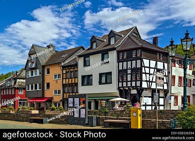 historic houses along the Erft river in Bad Munstereifel, Germany