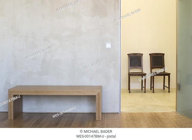 chairs and table inside a modern room