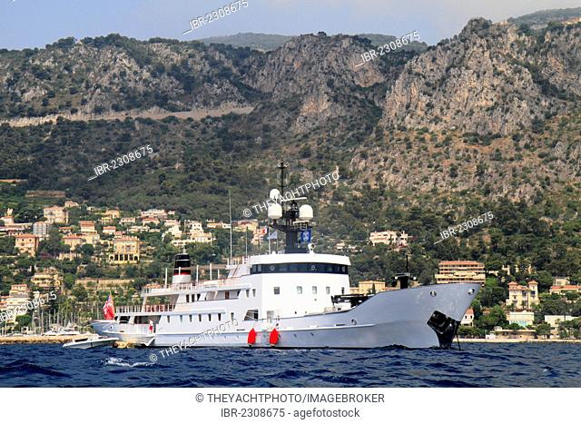 Olivia, a cruiser built by OY Laivateollisuus, length: 70 meters, built in 1972, Cap Ferrat, French Riviera, France, Mediterranean Sea, Europe