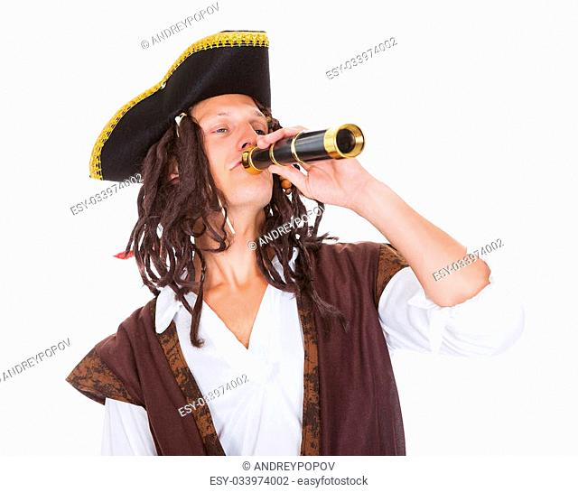 Portrait Of A Pirate With Telescope Over White Background