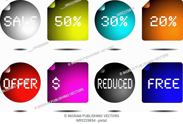 Collection of eight buttons in different colours with text