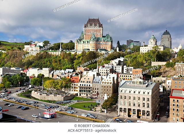 Upper and lower towns of Old Quebec City, Province of Quebec, Canada. Standing prominently in the upper town is Chateau Frontenac