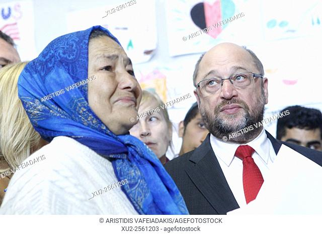 President of the European Parliament Martin Schulz visits refugees and migrants who they leave at the Galatsi Olympic Hall in Athens