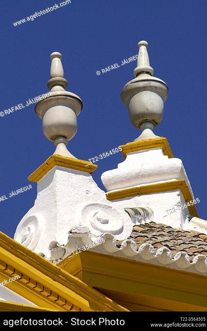 Seville (Spain). Architectural detail of the bullring of the Maestranza in Seville