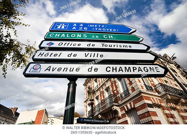 France, Marne, Champagne Region, Epernay, sign for Avenue de Champagne