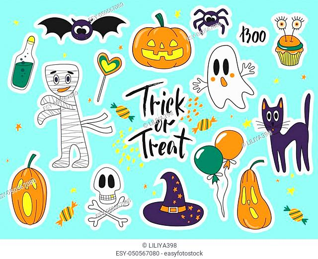 Halloween fashion cute cartoon doodle patch badges with ghosts, cat, spider, pumpkins and other elements. Set of stickers, pins
