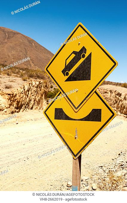 Traffic signs on Route 40, Province of Salta, Argentina