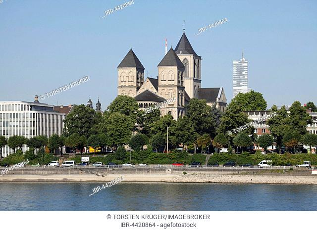 St. Kunibert's Church, Rhine river bank, Cologne, North Rhine-Westphalia, Germany