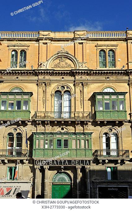 building facade on Republic Street, Valletta, Malta, Southern Europe