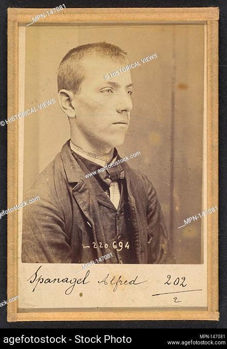 Spanagel. Alfred, Vincent. 17 ans, né le 27/5/77 à Paris. Serrurier. Anarchiste. 7/7/94. Artist: Alphonse Bertillon (French
