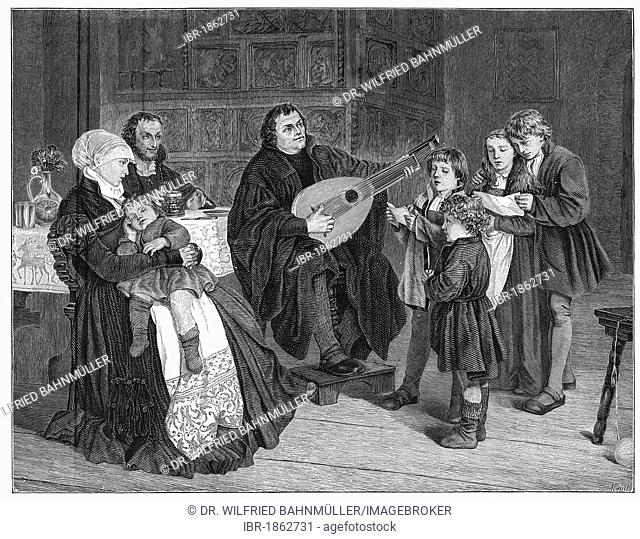Martin Luther with his family