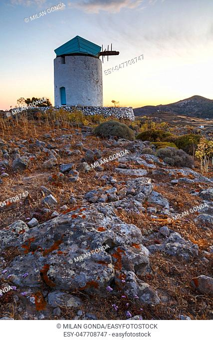 Old windmill near Chora village on Kimolos island in Greece.