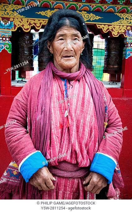 Monpa woman of the Tawang Valley, NE India, visiting town to celebrate the visit of an eminent Tibetan Lama, the 17th Karmapa Lama
