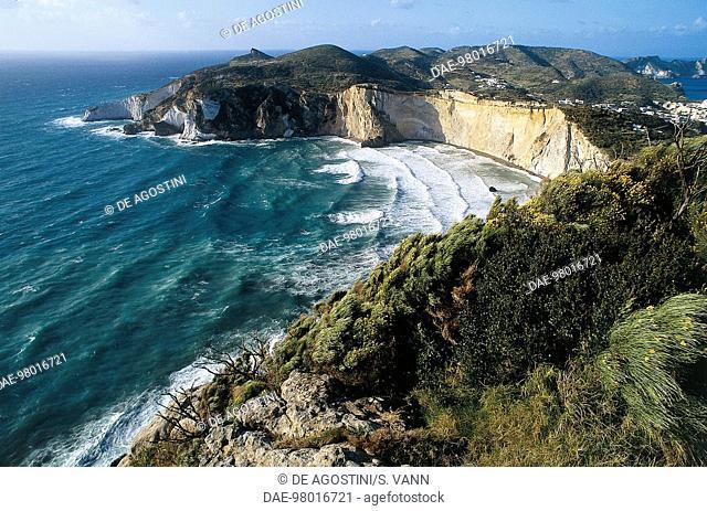 Cliffs and beach of Chiaia di Luna, Ponza Island, Pontine Islands, Lazio, Italy