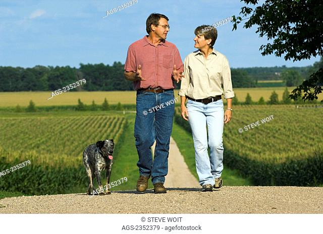 Agriculture - Husband and wife farmers walk along their farm driveway with their dog, with corn fields in the background / Minnesota, USA