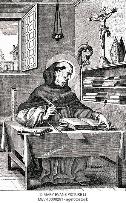 ALBERTUS MAGNUS (Albrecht, graf von Bollstadt) German philsopher, theologian, scientist, &c., in his study